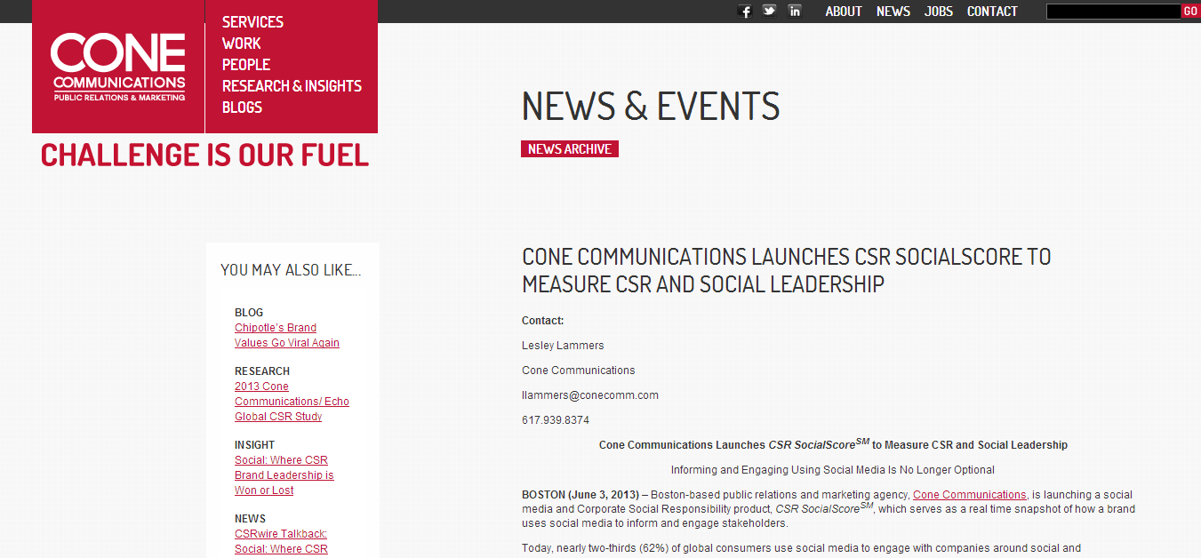 Cone Communications Launches CSR SocialScore