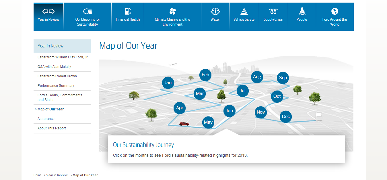 5-Map of Our Year   Sustainability Report 2013 14   Ford Motor Company